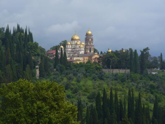 One of the many interesting places to visit: monastery near New Athos